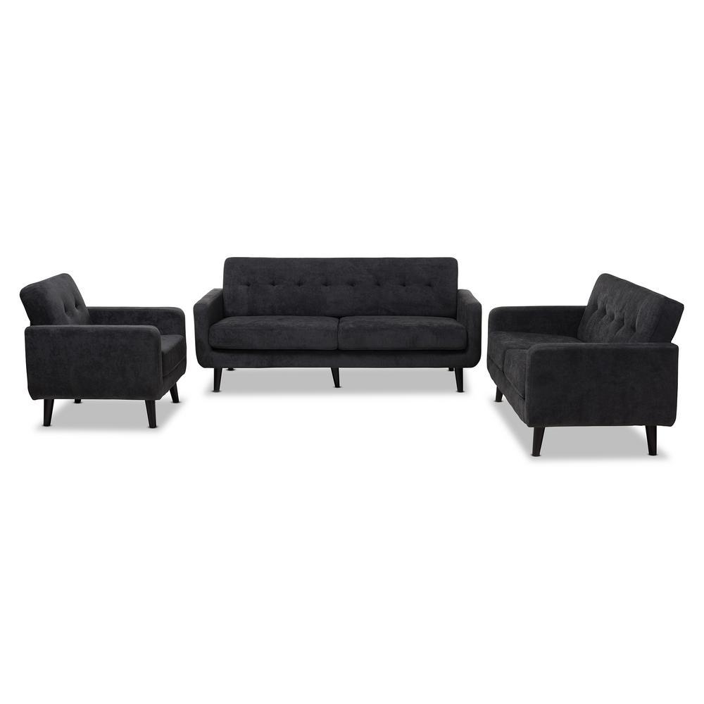 Carina 3-Piece Dark Gray Living Room Set