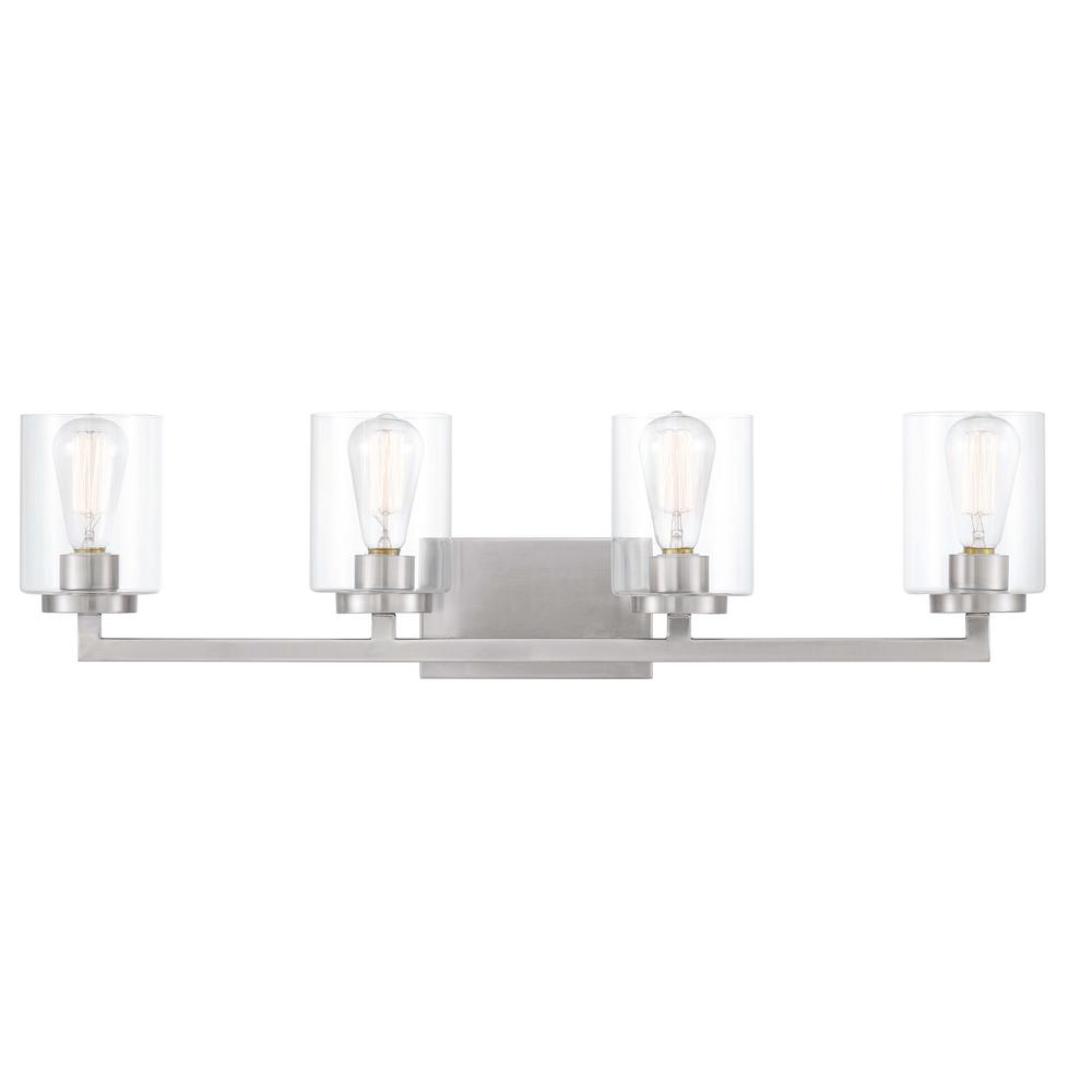 Home Decorators Collection Westlyn 7.875 in. 4-Light Brushed Nickel Vanity Light with Clear Optic Glass Shades