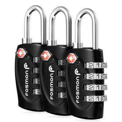 TSA Approved 4-Digit Combination Luggage Lock in Black (3-Pack)