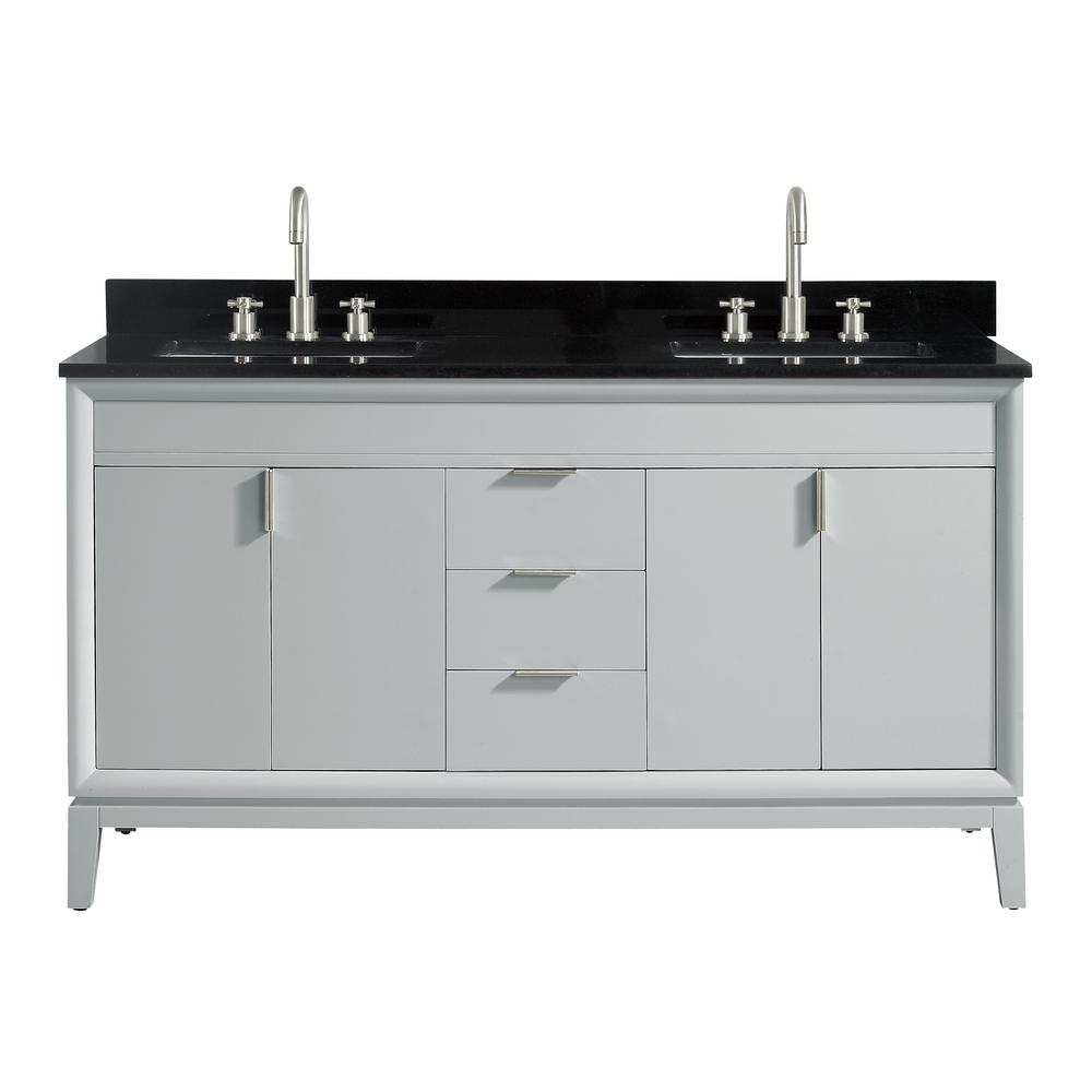 Avanity Emma 61 in. W x 22 in. D x 35 in. H Bath Vanity in Dove Gray with Granite Vanity Top in Black with White with Basins