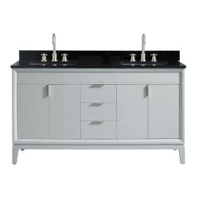 Emma 61 in. W x 22 in. D x 35 in. H Bath Vanity in Dove Gray with Granite Vanity Top in Black with White with Basins