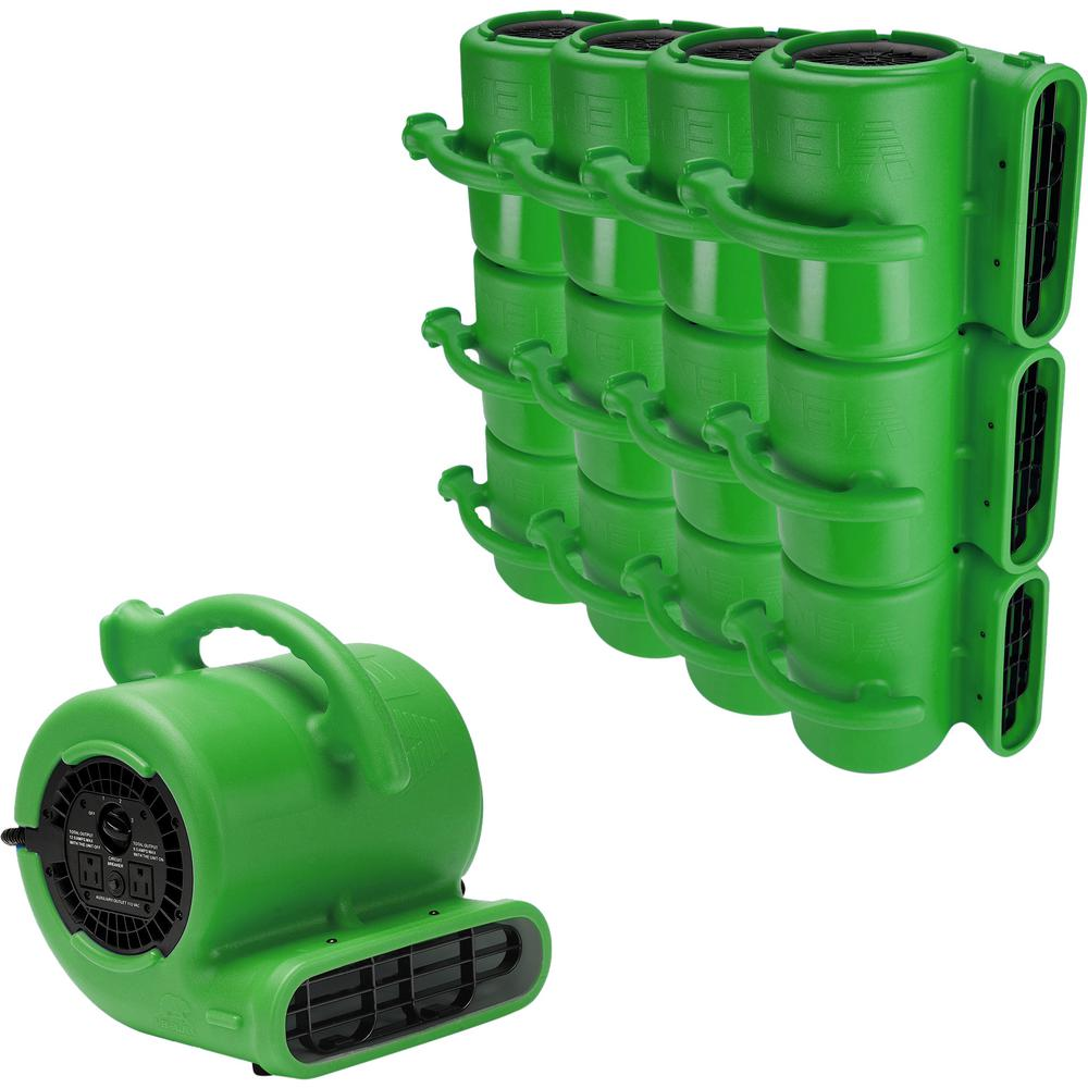 B-Air 1/4 Air Mover Carpet Dryer Floor Fan for Home Retail Plumbing Water Damage Restoration in Green (84-Pack)