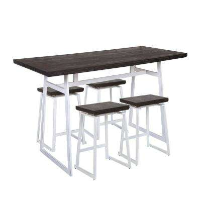 Geo 5-Piece Vintage White and Espresso Counter Height Dining Set