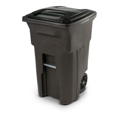 64 Gal. Brownstone Trash Can with Wheels and Attached Lid
