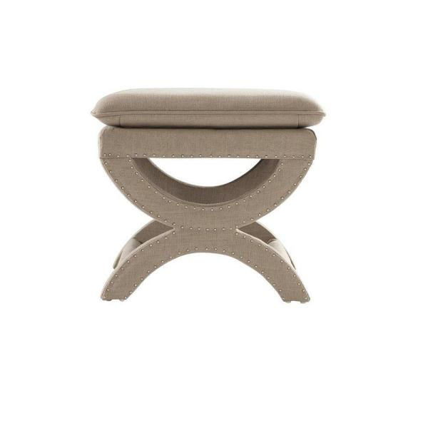 Valencia 19.5 In. H. Upholstered Vanity Stool In Dark Beige by Home Decorators Collection