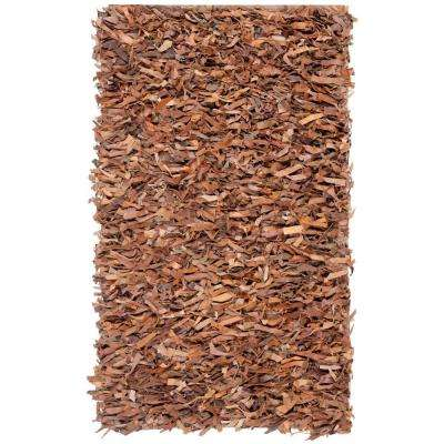 Leather Shag Brown 8 ft. x 10 ft. Area Rug