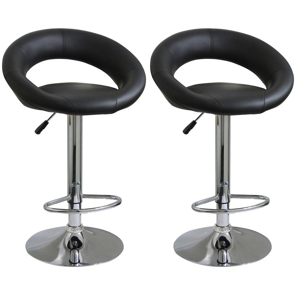 Amerihome Adjustable Height Black Swivel Cushioned Bar Stool Set Of 2 Bs1189set The Home Depot