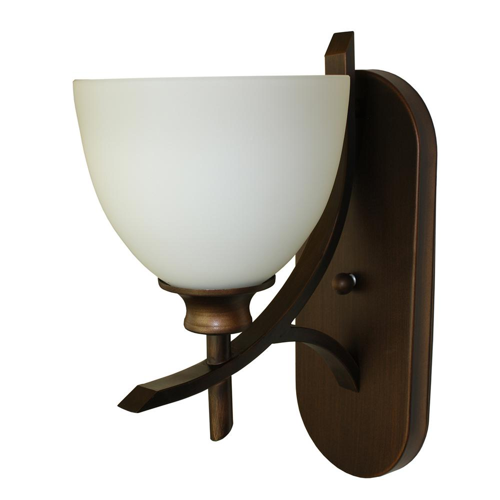 Cambridge 1 light oil rubbed bronze wall sconce wl89 1orb the home depot for Bathroom wall sconces oil rubbed bronze