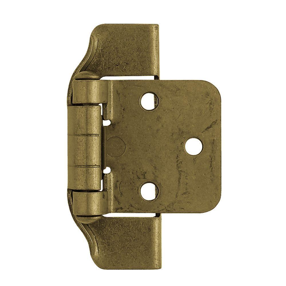1/2 in. Antique Brass Semi-Wrap Overlay Hinge (1-Pair)