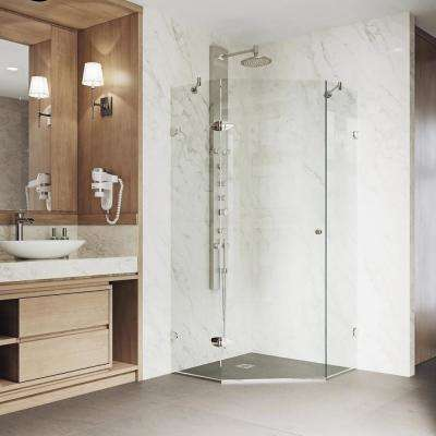 Verona 34.125 in. x 73.375 in. Frameless Neo-Angle Hinged Corner Shower Enclosure in Brushed Nickel with Clear Glass