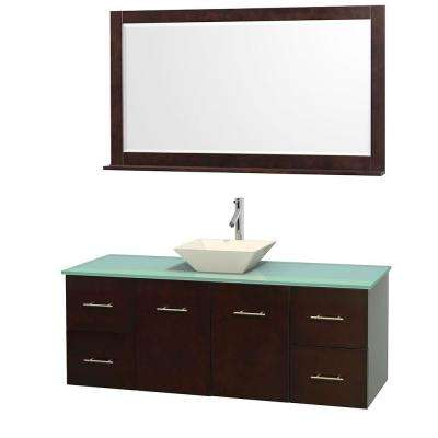 Centra 60 in. Vanity in Espresso with Glass Vanity Top in Green, Bone Porcelain Sink and 58 in. Mirror