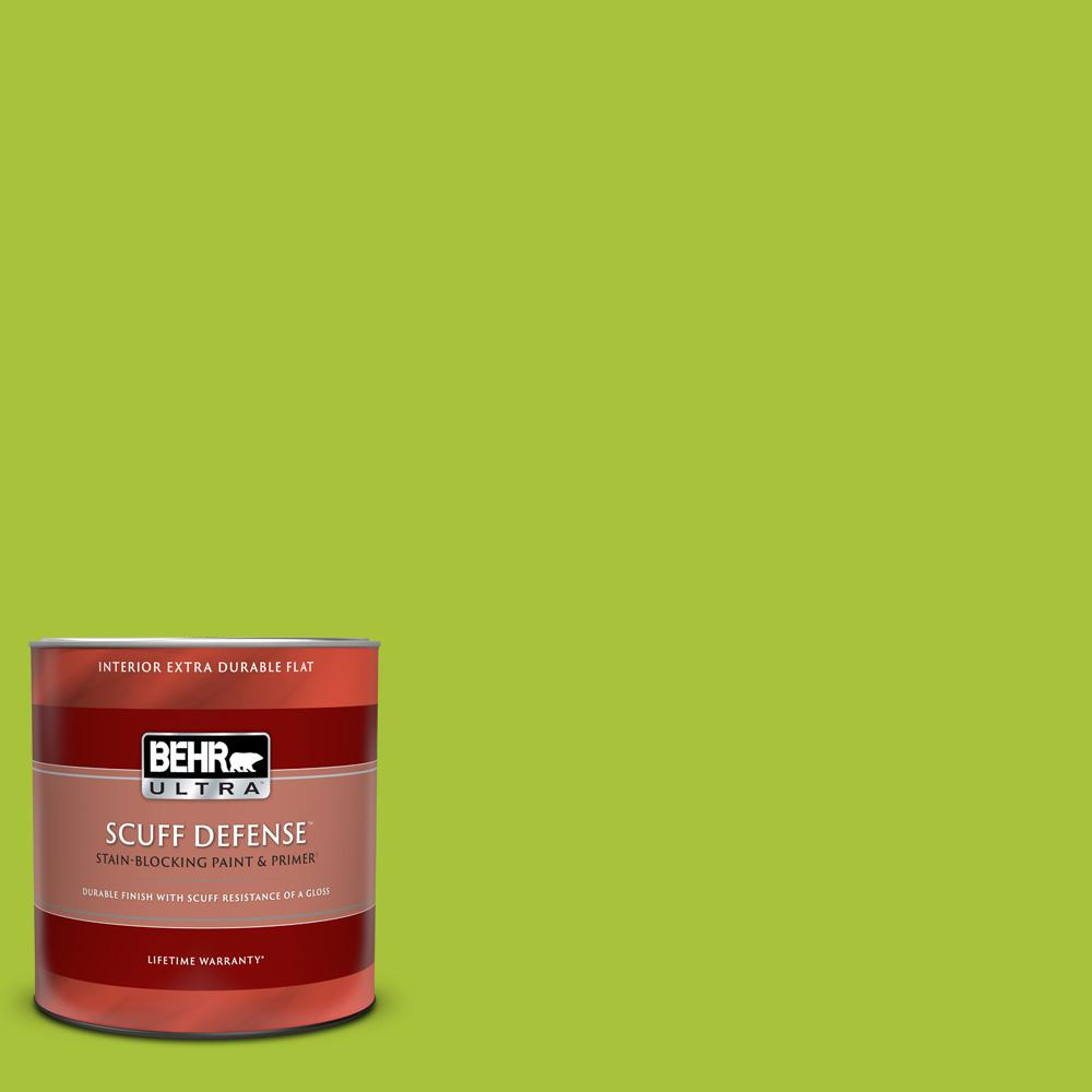 Behr Ultra 1 Qt S G 410 Green Crush Extra Durable Flat Interior Paint And Primer In One 172304 The Home Depot