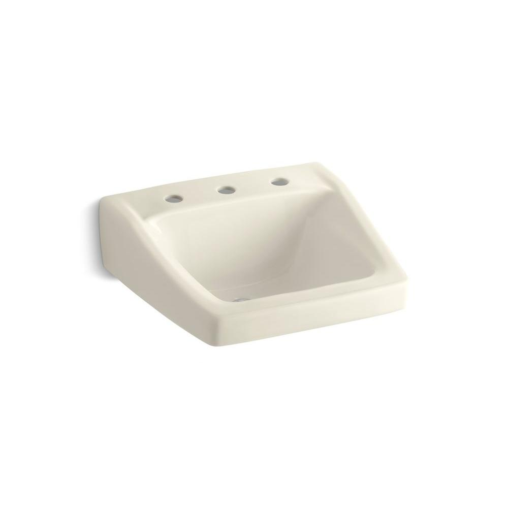 Chesapeake Wall-Mount Vitreous China Bathroom Sink in Almond with Overflow Drain