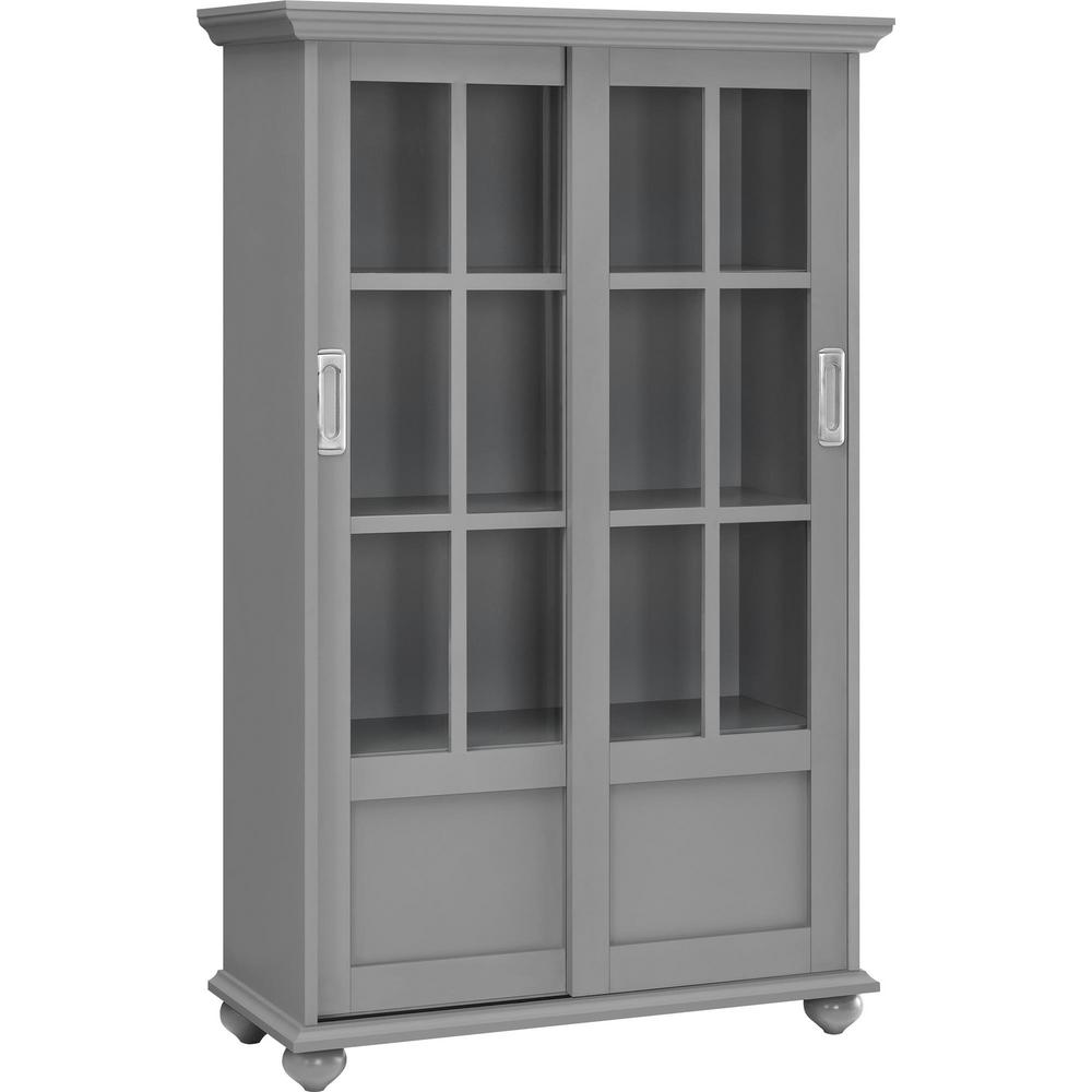 Abel Place Soft Gray Bookcase with Sliding Glass Doors