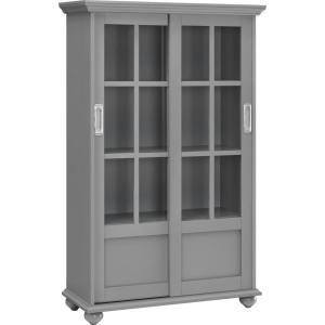 Ameriwood Home Abel Place Soft Gray Bookcase With Sliding