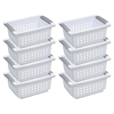 5.38 in. D x 8.63 in. W x 12.5 in. H White Small Stacking Basket with Titanium Accents (8-Pack)
