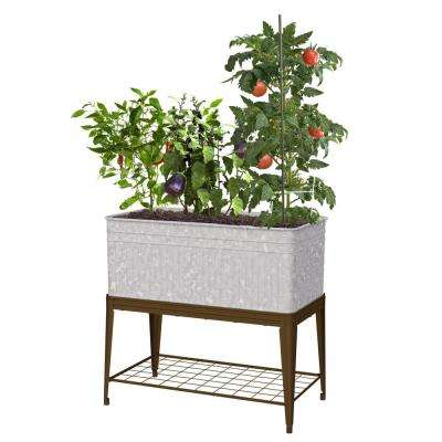 Vintage Metal Stand Up Raised Planter with Stand