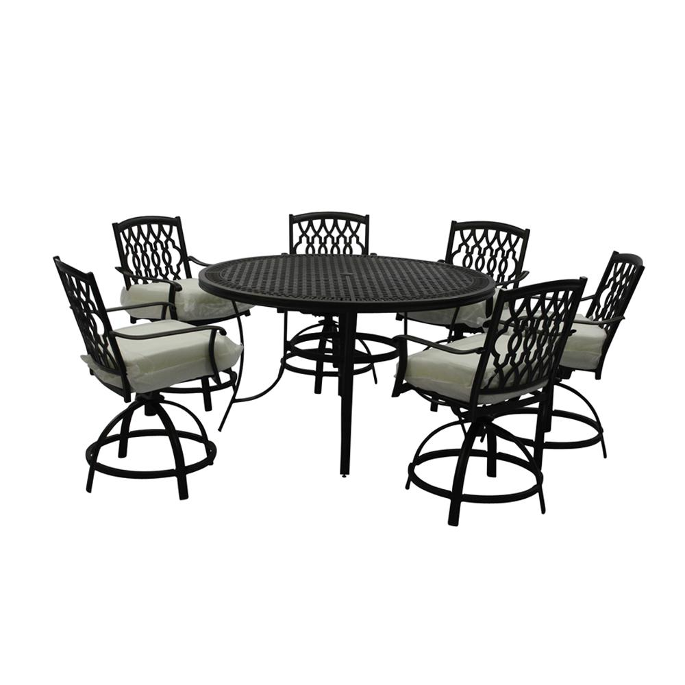 Remarkable Home Decorators Collection Chair Ridge Falls 7 Piece Aluminum Outdoor High Dining Set With Bare Cushion Spiritservingveterans Wood Chair Design Ideas Spiritservingveteransorg