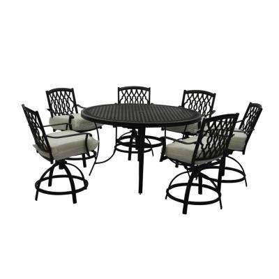 Chair - Ridge Falls 7-Piece Aluminum Outdoor High Dining Set with Bare Cushion