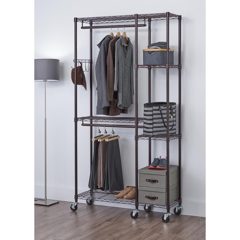 14 in. D x 41 in. W x 77.5 in. H Dark Bronze 5-Shelf Steel Closet System Organizer