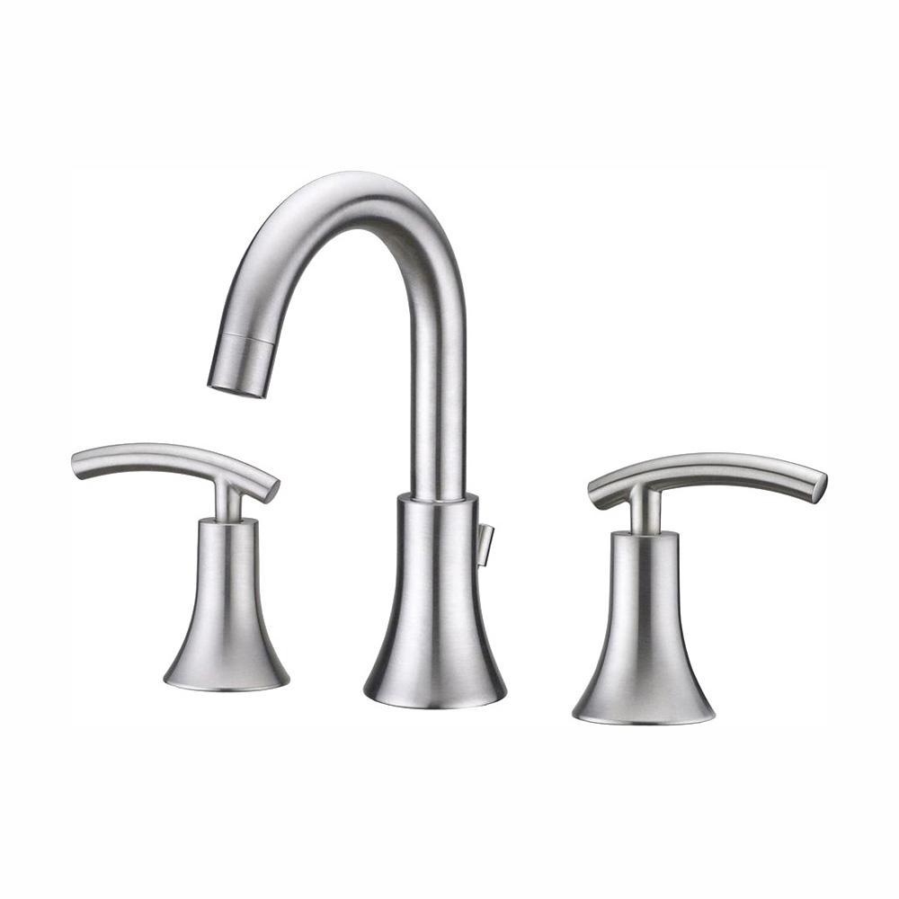 Contemporary 8 in. Widespread 2-Handle Bathroom Faucet in Brushed Nickel