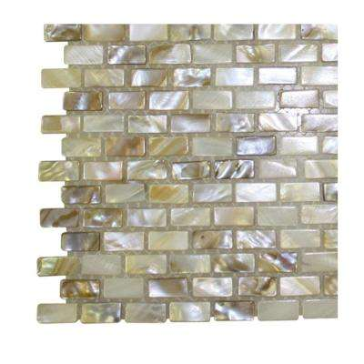 Baroque Pearls Mini Brick Pattern Pearl Glass Floor and Wall Tile - 3 in. x 6 in. Tile Sample