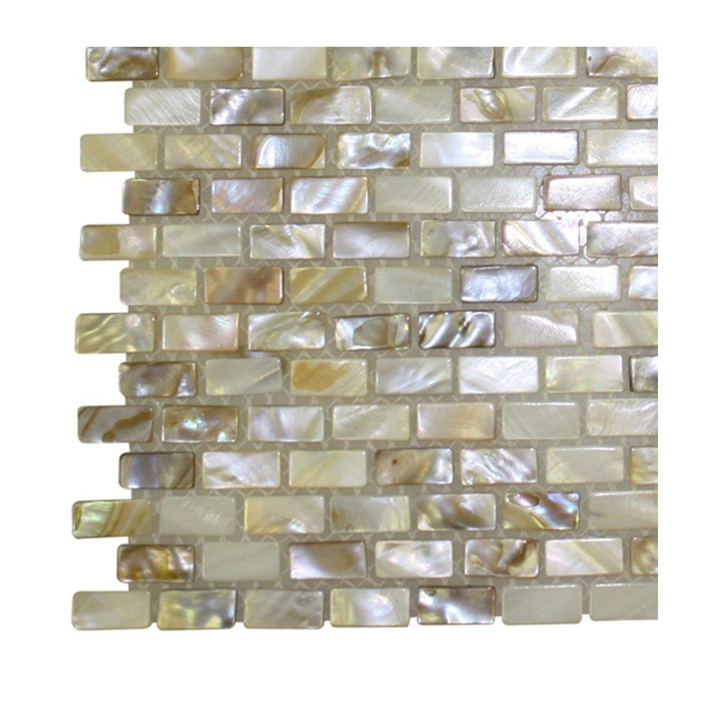 Tile samples for bathroom - Baroque Pearls Mini Brick Pattern Pearl Glass Floor And Wall Tile