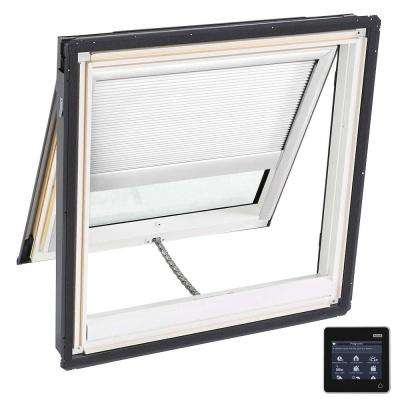 44-1/4 in. x 45-3/4 in. Venting Deck-Mount Skylight w/ Laminated Low-E3 Glass, White Solar Powered Room Darkening Blind