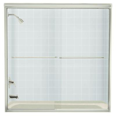 Finesse 59-5/8 in. x 58-5/16 in. Frameless Sliding Tub Door in Nickel with Handle