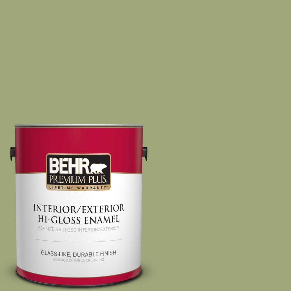1 gal. #T18-16 Nurturing Hi-Gloss Enamel Interior/Exterior Paint