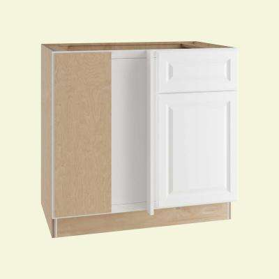 Hallmark Assembled 36x34.5x24 in. Base Blind Corner Kitchen Cabinet Left with Door and Drawer in Arctic White