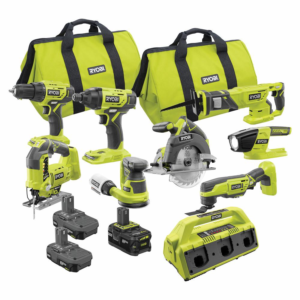 Ryobi One 18v Cordless 9 Piece Combo Kit With 3 Batteries And 6 Port Supercharger Pck700kn The Home Depot