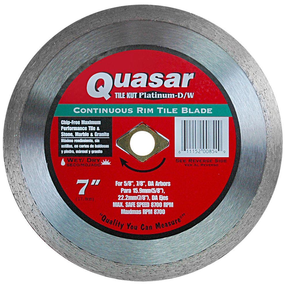 Quasar Tile Kut Platinum D W 7 In Continuous Rim Tile