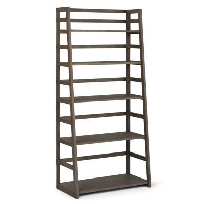 63 in. Farmhouse Gray Wood 5-shelf Ladder Bookcase with Open Back