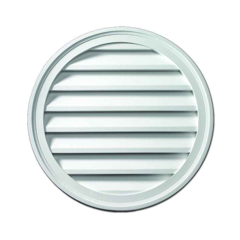 Fypon 28 in. x 28 in. x 1-5/8 in. Polyurethane Functional Round Louver Gable Vent