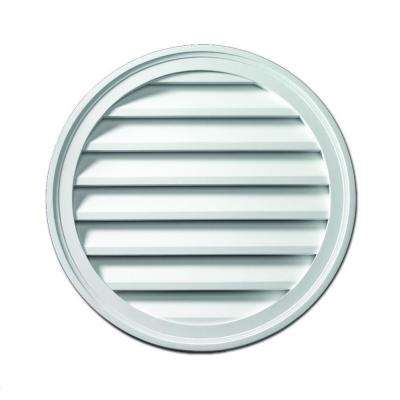 28 in. x 28 in. x 1-5/8 in. Polyurethane Functional Round Louver Gable Vent