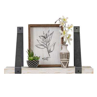 Industrial Grace 9.5in x 24in x 13in White Pine Wood Drop Down Decorative Wall Shelf with Brackets