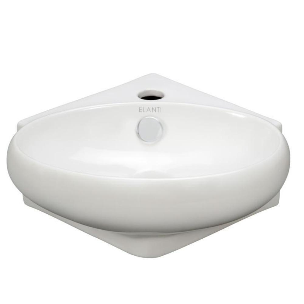 Elanti Wall Mounted Corner Oval Compact Bathroom Sink In White 1103 The Home Depot