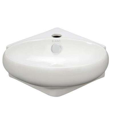 Wall-Mounted Corner Oval Compact Bathroom Sink in White