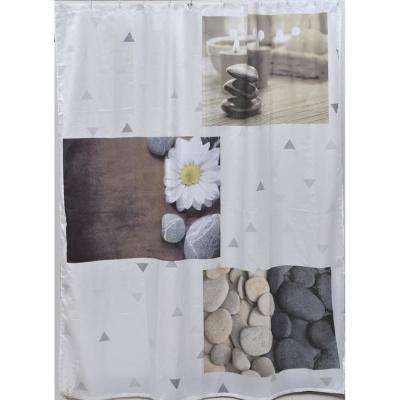 Zen Garden 71 in. x 79 in. Multicolored Polyester Printed Fabric Shower Curtain