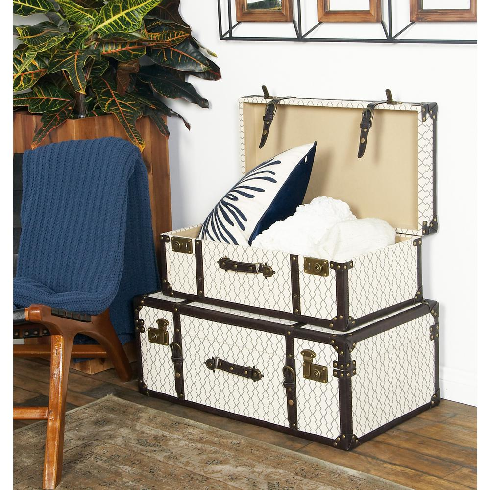White Rectangular Canvas and Wood Trunks with Black Strap Accents (Set