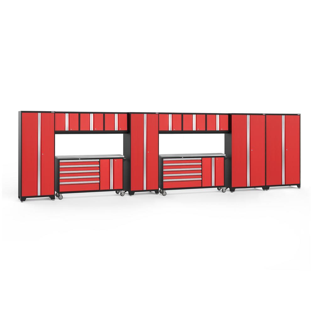 Bold 3.0 288 in. W x 75.25 in. H x 18 in. D 24-Gauge Welded Steel Stainless Steel Worktop Cabinet Set in Red (12-Piece)