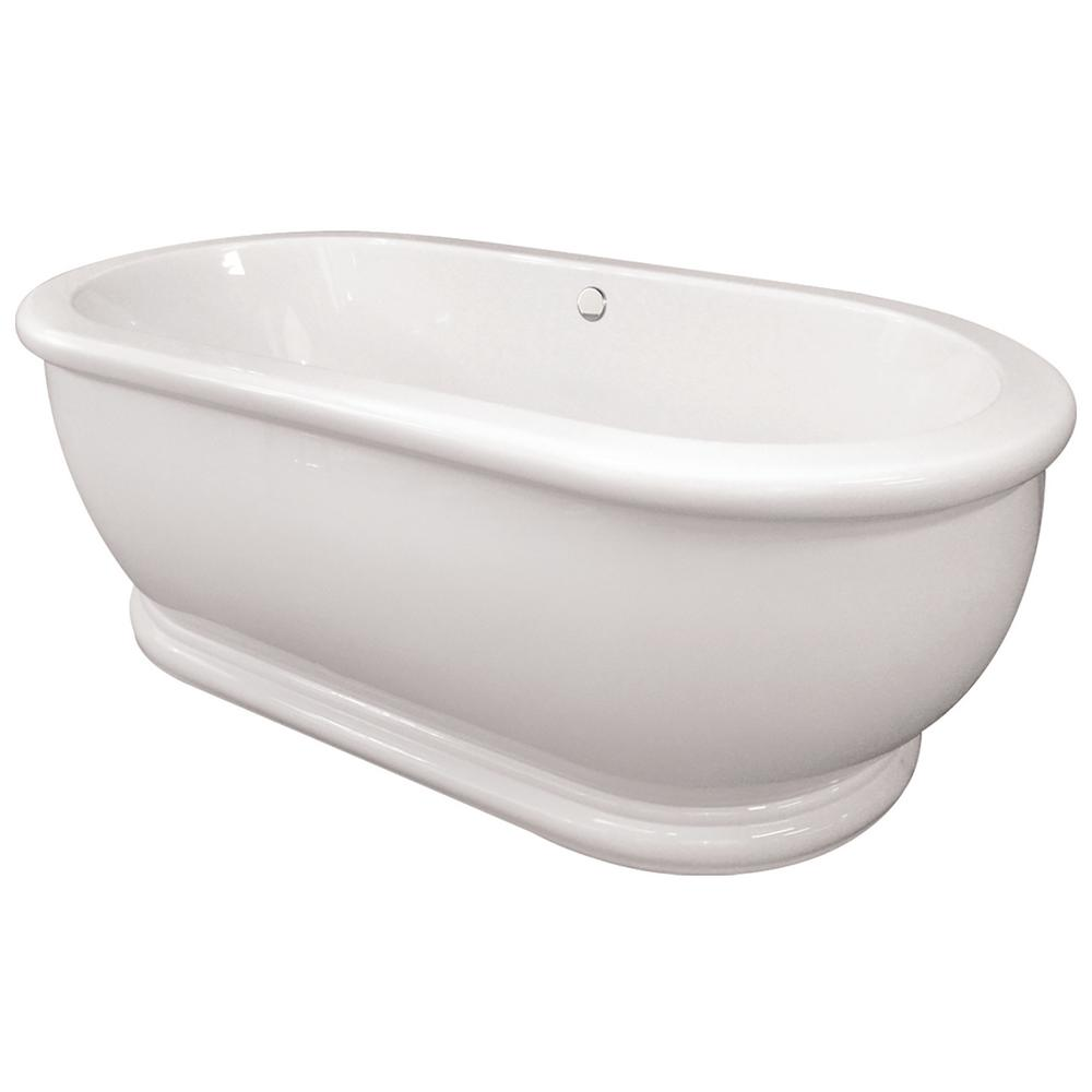 Domingo 5.6 ft. Acrylic Flatbottom Non-Whirlpool Freestanding Bathtub in White