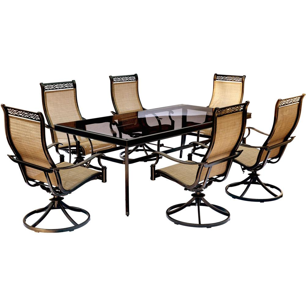 Hanover Monaco 7 Piece Aluminum Outdoor Dining Set With Rectangular Gl Top Table And