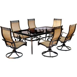 Hanover Monaco 7-Piece Aluminum Outdoor Dining Set with Rectangular Glass-Top Table and Contoured Sling Swivel... by Hanover