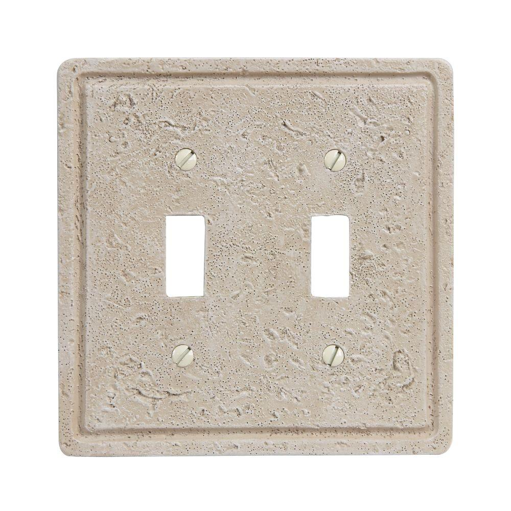 Amerelle Faux Stone 2 Toggle Wall Plate - Toasted Almond