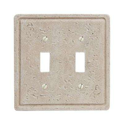 Faux Stone 2 Toggle Wall Plate - Toasted Almond