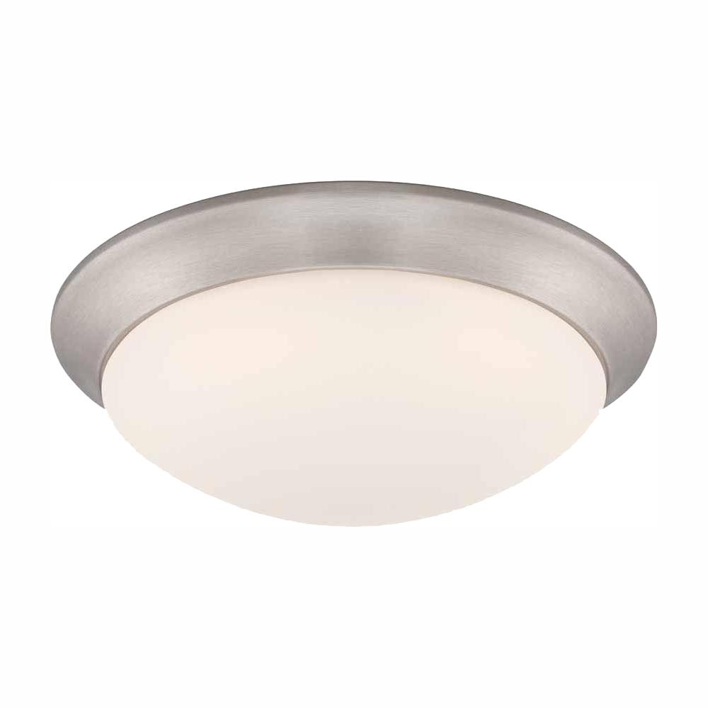 Commercial Electric Commercial Electric 11 in. 120-Watt Equivalent Brushed Nickel Integrated LED Flush Mount with Frosted White Glass Shade