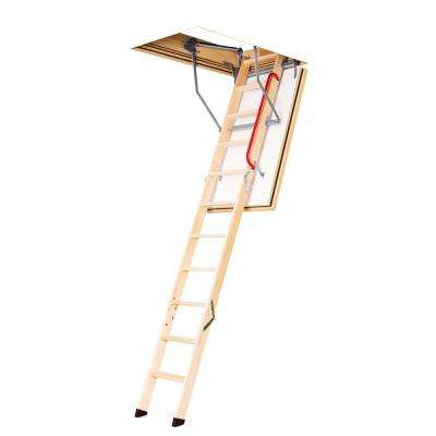 New LWF 7 ft. - 9 ft., 25 in. x 47 in. Fire Rated Insulated Wood Attic Ladder with 300 lb. Maximum Load Capacity