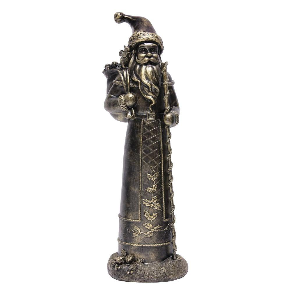 Home Accents Holiday 27 in. Polyresin Bronze Christmas Santa